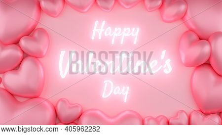 Pink Heart With Pink Background And Text. Valentine's Day Concept. 3D Rendering Illustration