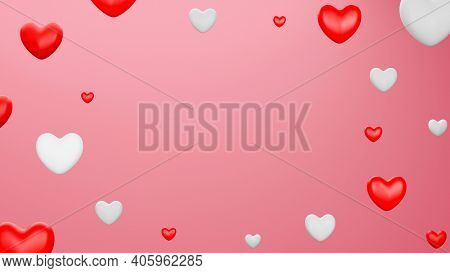 Red And White Heart With Black Background. Valentine's Day Concept. 3D Rendering Illustration