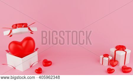 Red Heart And Open, Close White Gift Box With Red Ribbon. Valentine's Day Concept. 3D Rendering Illu