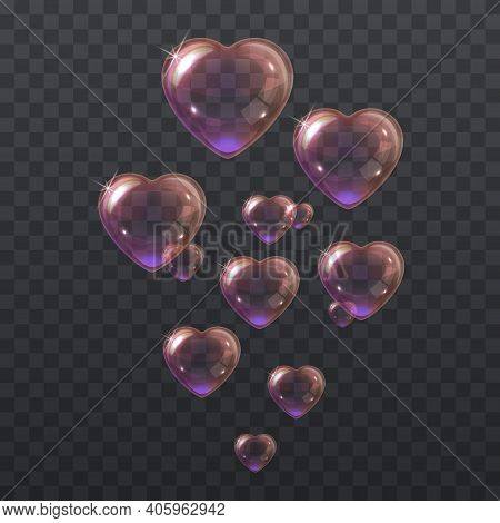 Soap Pink Bubbles In The Shape Of A Heart. Vector Illustration Of Flying Heart Shaped Shiny Pink Soa