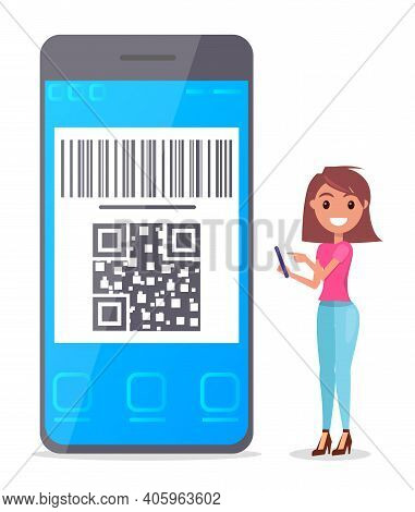 Smiling Pretty Girl With Phone In Hands, Big Smartphone With Qr Code Scanning, Cashless Payment. Qr