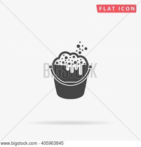 Washing Bucket Flat Vector Icon. Hand Drawn Style Design Illustrations.