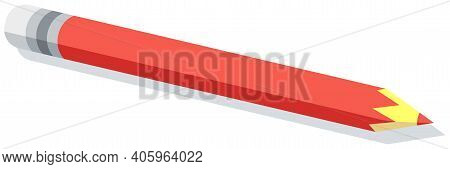 Vector Red Pencil With Gray Eraser Isolated On White Background. Sharpened Wooden Pencil With Edges.