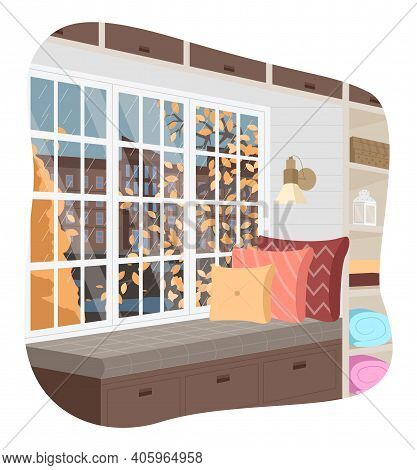 Living Room Window With Soft Couch And A Stack Of Pillows On The Windowsill Vector Illustration. Ins