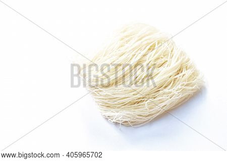 Dry Instant Vermicelli Thin Noodles Raw Food Arranging On White Background