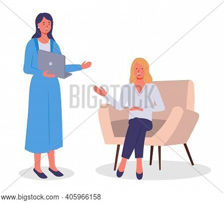 Businesswomen Dressed In Formal Clothes Sitting In Armchair Standing With Computer In Room And Talki