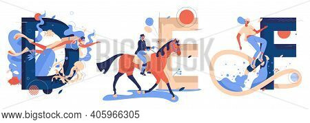 Vector Collection With Capital Letters D For Diving, D For Equestrian And F For Flyboarding Sport. W