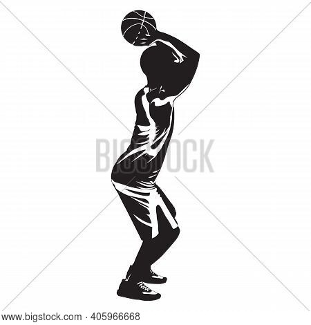 Basketball Shooting Technique. Young Man Athlete, Professional Basketball Player Silhouette Shooting