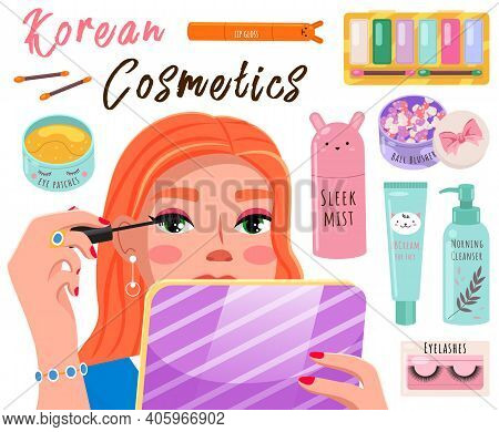 Beautiful Girl Makes Look And Does Makeup Looks After Beauty And Paints Eyes, Advertises A Cosmetics