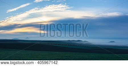 Landscape Covered With Fog In Central Bohemian Uplands, Czech Republic. Central Bohemian Uplands Is