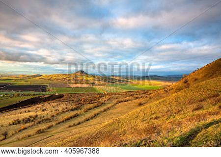 Amazing Autumn View From Rana Hill In Central Bohemian Uplands, Czech Republic. Central Bohemian Upl