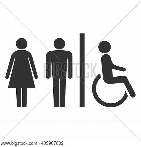 Toilet Icons. Man, Woman, Handicap.restroom, Bathroom In A Public Area, Navigation. Vector Illustrat