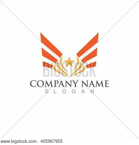 Wing And Star Falcon Logo And Symbol Vector