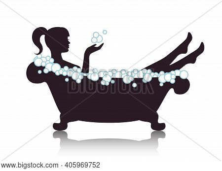 Silhouette Graceful Beautiful Woman Takes A Bath With Foam On A White Background