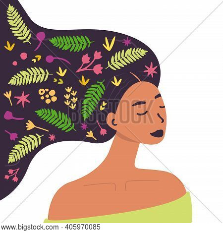 Flat Vector Cartoon Illustration Of A Woman With Flowers In Her Head. Women's Mental Health. Mindful