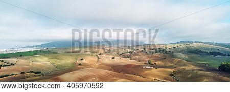 Aerial Horizontal Image Photo Agricultural Fields In Sevilla. Andalusia, Spain