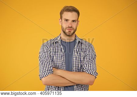 Feeling Confident. Confident Guy Keep Arms Crossed. Confident Look Of Fashion Model. Menswear Store.
