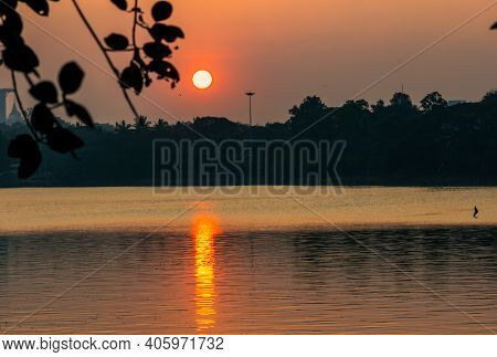 Scenic View Of The Sunset From A Lake In Bangalore, Karnataka, India. Selective Focus