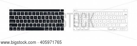Keyboard Of Computer, Laptop. Modern Key Buttons For Pc. Black, White Keyboard Isolated On White Bac