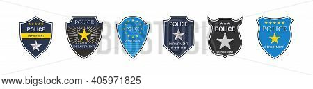 Police Badge. Police Department. Emblem Of Shield For Cop And Officer. Sign Of Security, Law And Pro
