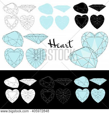 Heart Cut. Types Of Diamond Cut. Four Sides Of Jewelry With Facets For Background, Carving And Color