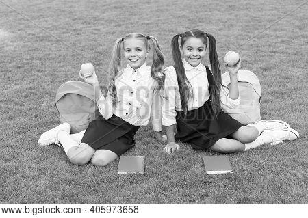 Vitamin Works Wonders. Happy Children Hold Apples On Green Grass. School Break. Vitamin Snack. Choos