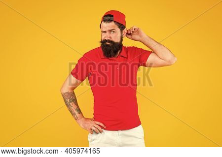 Growing And Keeping Facial Hair. Bearded Man Yellow Background. Skin Care Routine. Skincare. Barbers