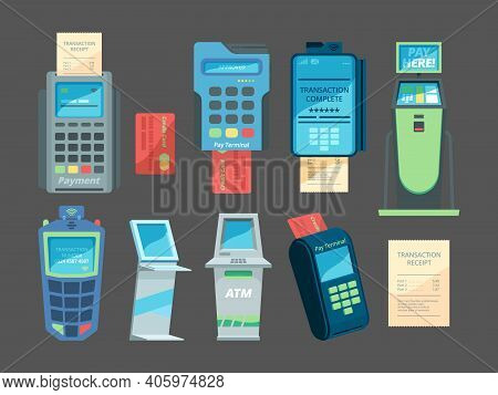 Pay Terminals. Money Checkout Transaction Nfc Module For Card Payment System Vector Illustrations Se
