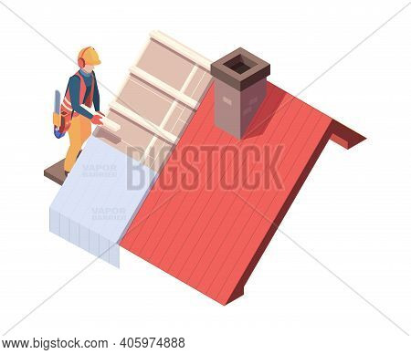 Wooden Roofing. Builders Renovation Skyscrapers Carpentry Architect Roof Vector Isometric. Worker Ro