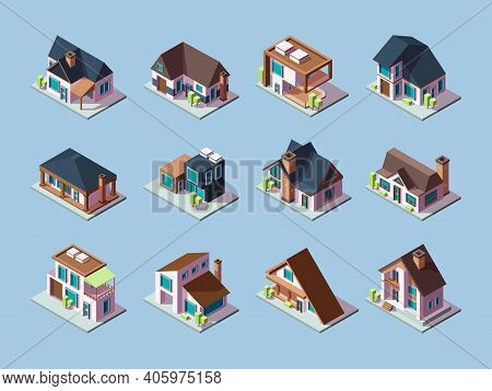 Cottages Isometric. Luxury Houses Small Villages Residential Towns Facades Garish Vector Buildings.