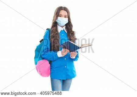 Learning Must Go On. Little Child In Face Mask Read Book. School Education During Covid-19. Safe Lea