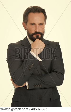 Formal And Elegant. Bearded Man Wear Formal Suit. Serious Lawyer In Formal Style. Formal Work Fashio