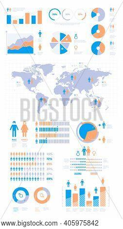 Demographic Infographic. People Population Statistics Percentage Visualisation Graphic Garish Vector