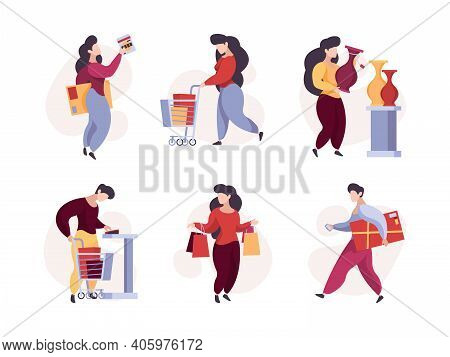 Characters Shopping. Woman Man Buyers With Product Basket Supermarket Garish Vector People. Illustra