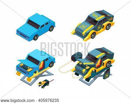 Cars Repair. Automobile Mechanic Equipment Workshop Lifts For Vehicles Garish Vector Isometric Illus