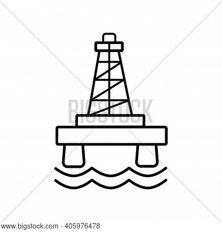 Icon Oil Or Gas Rig (offshore Platform), Isolated On A White Background. Offshore Oil Production Pla