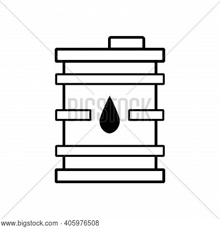Oil Barrel Vector Illustration Isolated On White. Oil Barrel Outline Icon. Linear Style Sign For Mob
