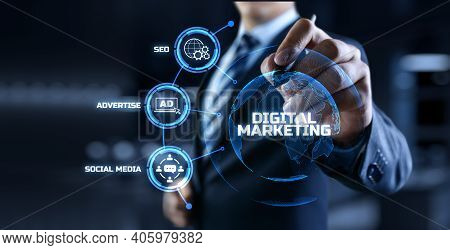 Digital Marketing Online Internet Seo Sem Smm. Businessman Pressing Button On Screen.