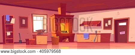 Blacksmith Workshop, Forge With Anvil And Hammer On Workbench. Vector Cartoon Interior Of Smithy Wit