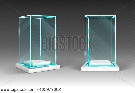 Glass Showcase, Display, Exhibit Stand, Transparent Box Front And Angle View On Wood Or Plastic Base