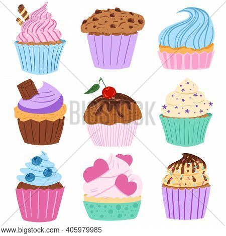 Little Delicious Cupcakes And Muffins With  Chocolate Cream. Delicious Cupcakes. Vector Illustration