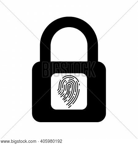 Electronic Padlock With Fingerprint. Padlock With Fingerprint Scanner. Security Concept Icon. Vector
