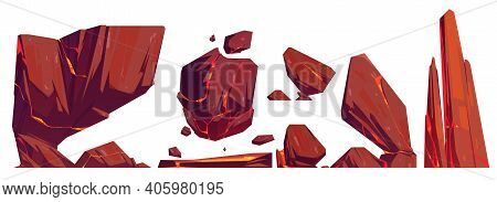 Rocks And Stones With Glowing Lava In Cracks, Mountain Texture, Nature Elements, Geological Material
