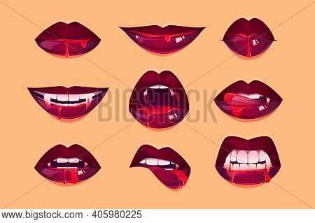 Vampire Mouth With Fangs Set. Female Closed And Open Red Lips With Long Pointed Canine Teeth And Blo
