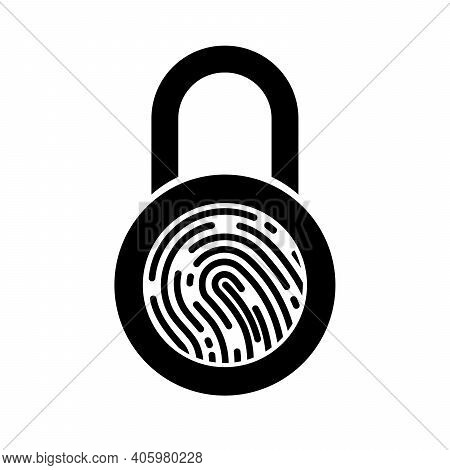 Fingerprint Padlock Icon. Scan Fingerprint Icon. Security Concept Icon. Vector Illustration