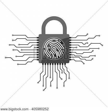 Electronic Padlock With Fingerprint . Padlock With Fingerprint Scanner. Electronic Security System.