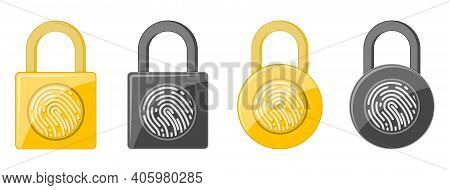 Electronic Padlock With Fingerprint . Padlock With Fingerprint Scanner. Security Concept Icon. Vecto