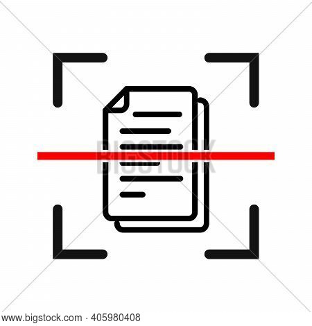 Document Scan Icon. Electronic Document Scanning Concept. Vector Illustration. Online Document Verif