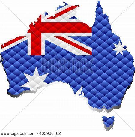 Mosaic Map Of The Australia - Illustration,  Three Dimensional Map Of Australia