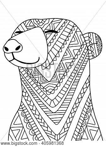 Funny Polar Bear Stock Vector Illustration. Ornamental Peaceful Polar Bear Coloring Page For Childre